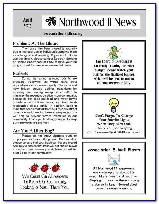 Homeowners Association Newsletter Templates