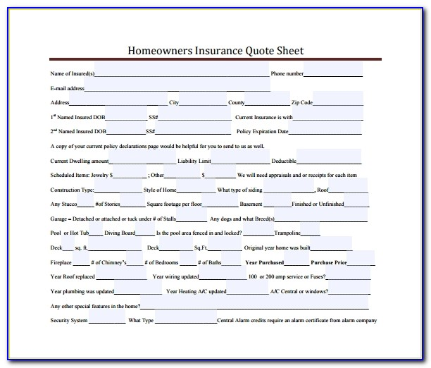 Homeowners Insurance Quote Sheet Template