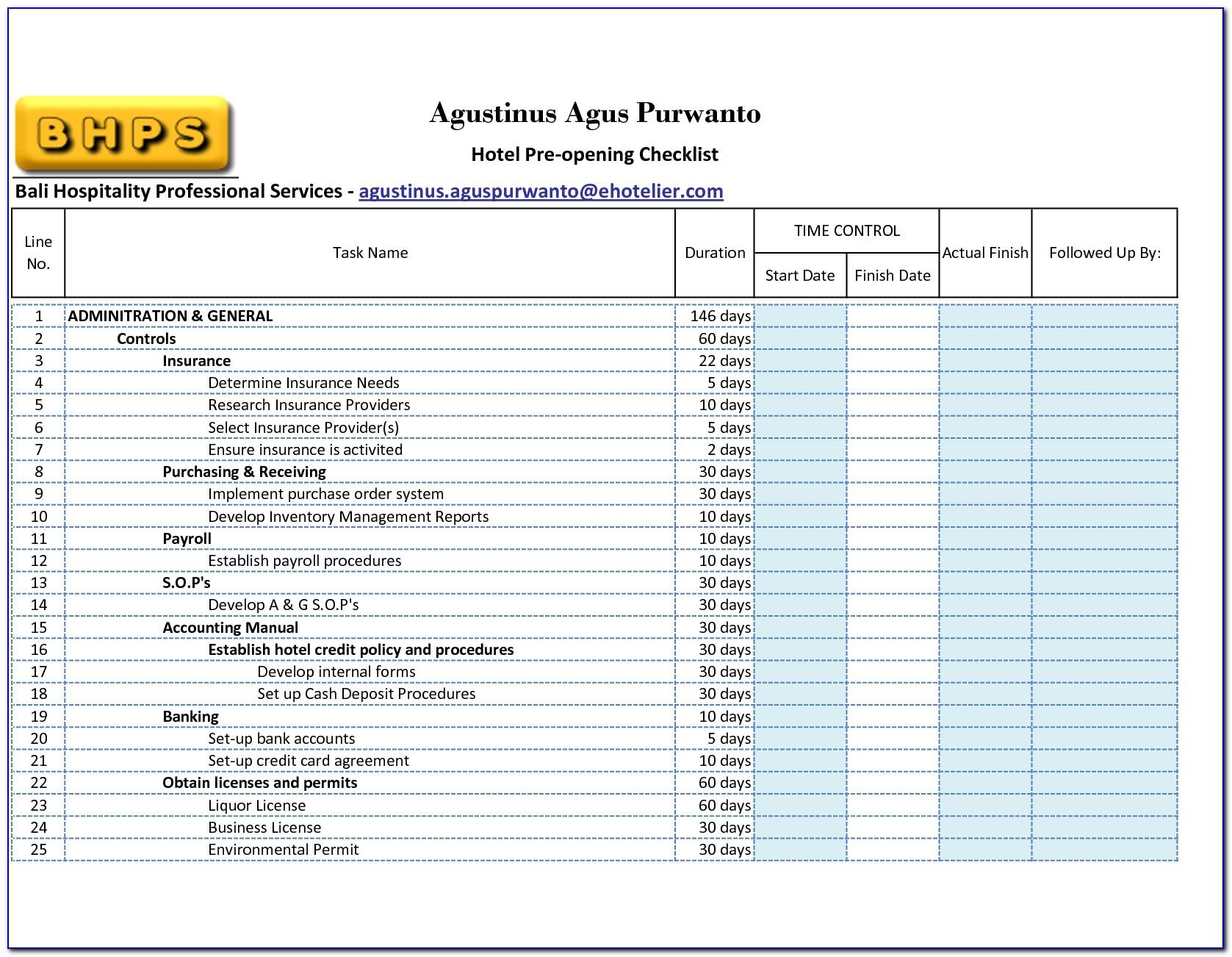 Hotel Room Maintenance Checklist Template