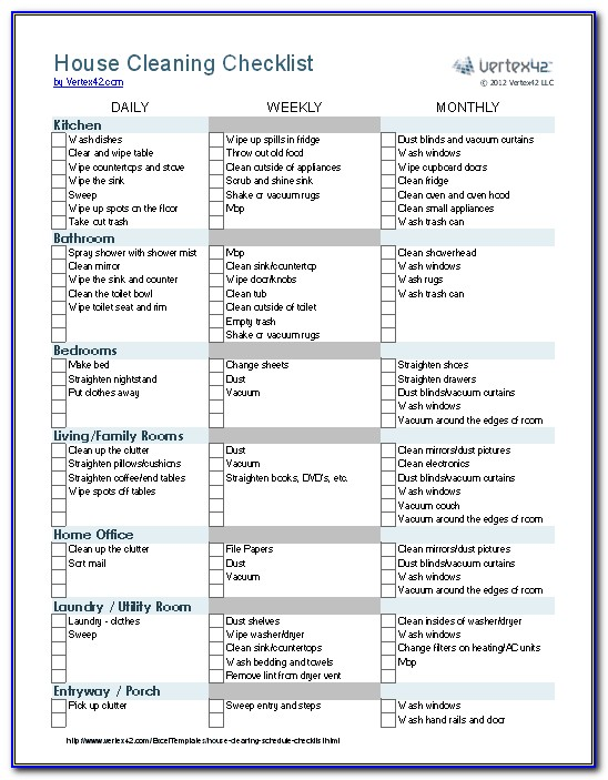 House Cleaning Checklist Template Word