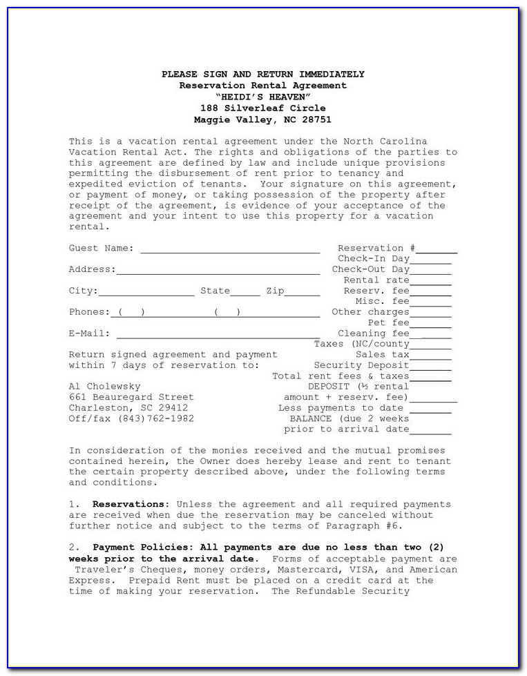 House Rental Agreement Template Free