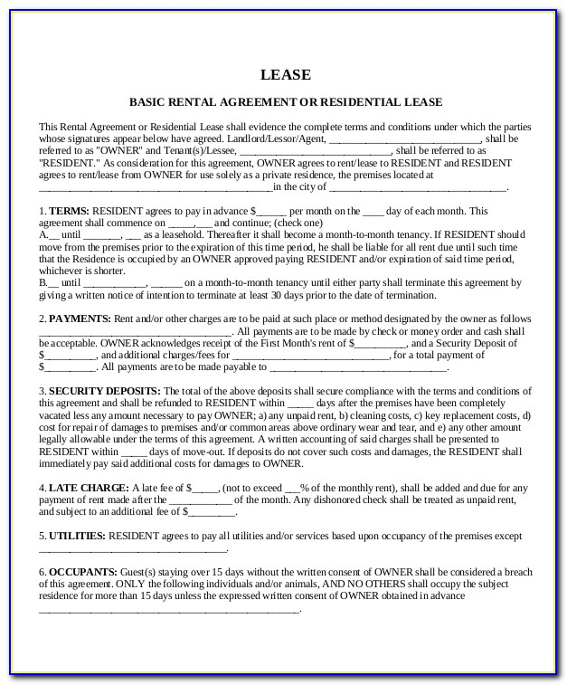 House Rental Agreement Template Word