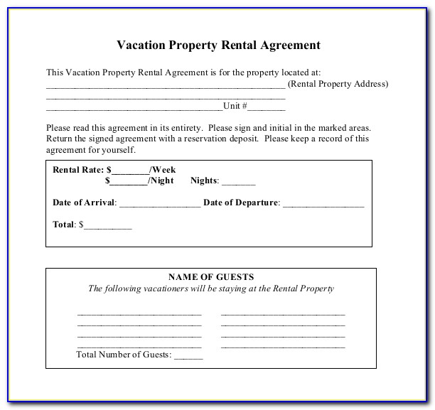 House Rental Contract Template Free