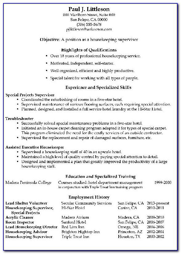 Functional Resume Sample Housekeeping Supervisor.png