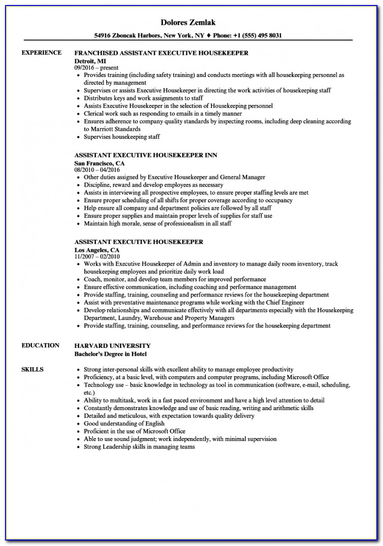 Housekeeping Resume Templates