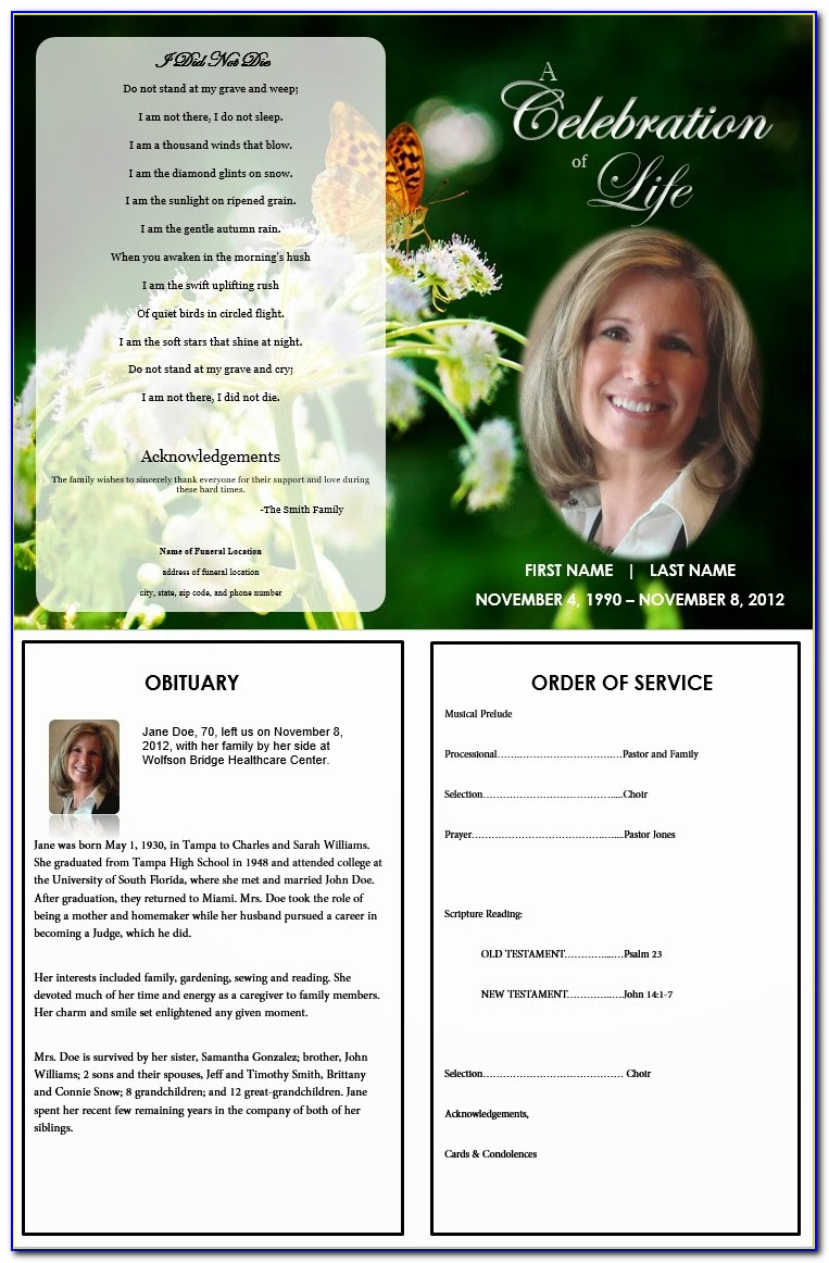 How To Make A Funeral Program Template