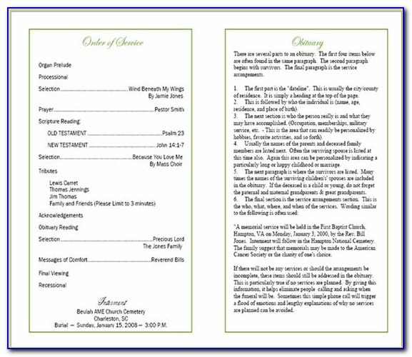 How To Write A Funeral Program Template