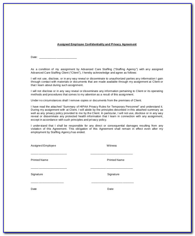 Hr Non Disclosure Agreement Template