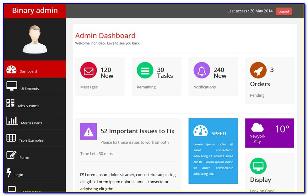 Html Bootstrap Dashboard Template Free Download