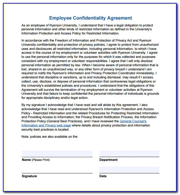 Human Resources Confidentiality Agreement