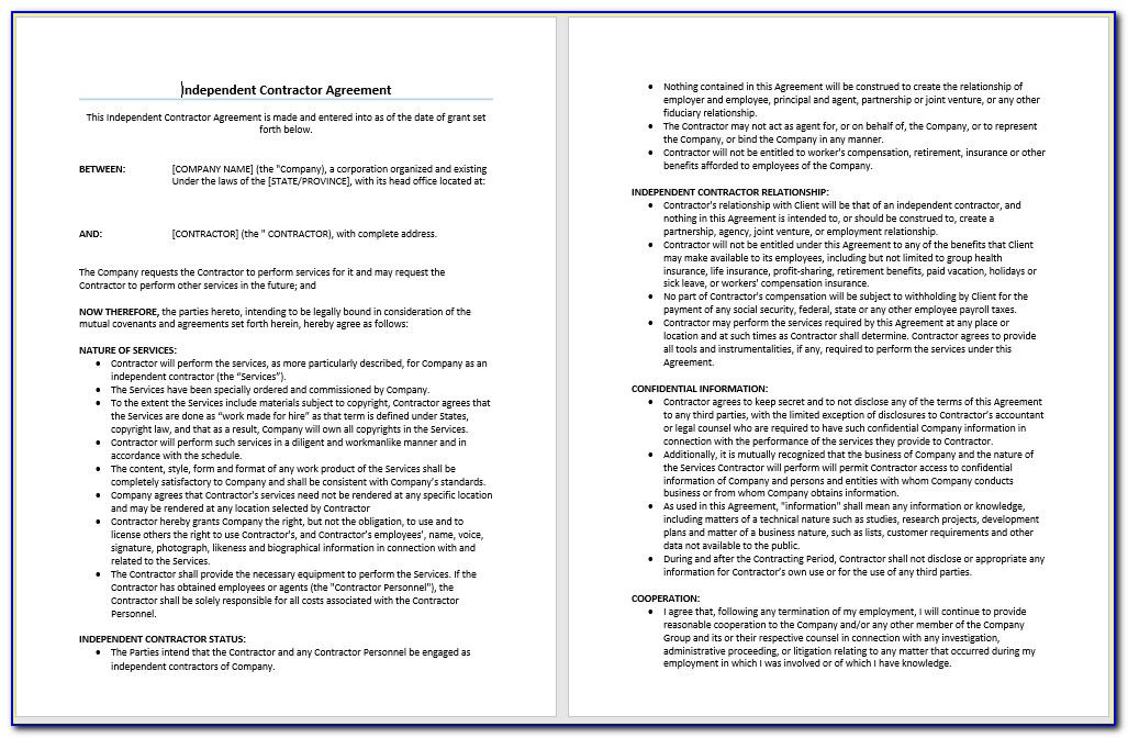 Independent Contractor Agreement Free Template