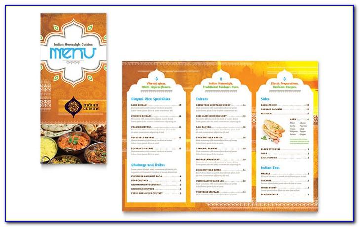 Indian Restaurant Menu Template Free Download