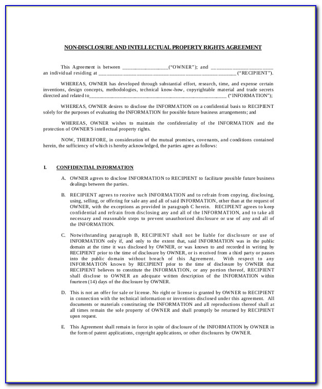 International Non Disclosure Agreement Template
