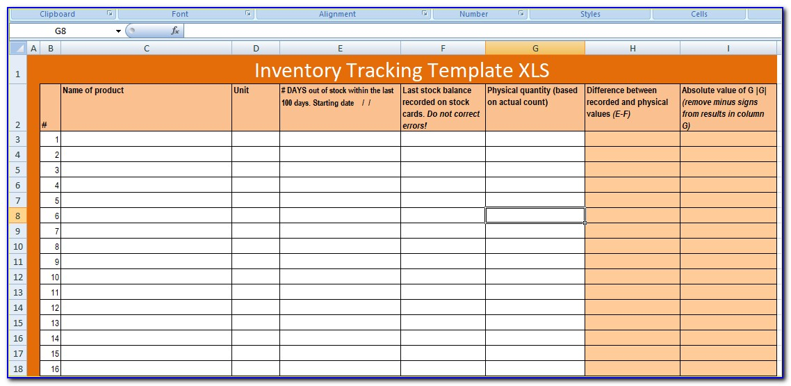 Inventory Tracking Template Google Sheets