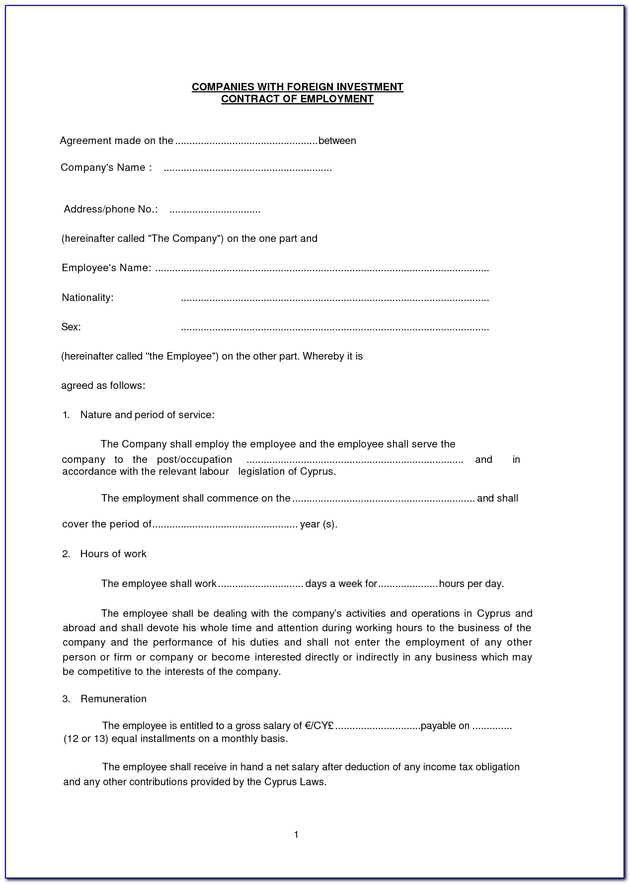 Investor Agreement Template India