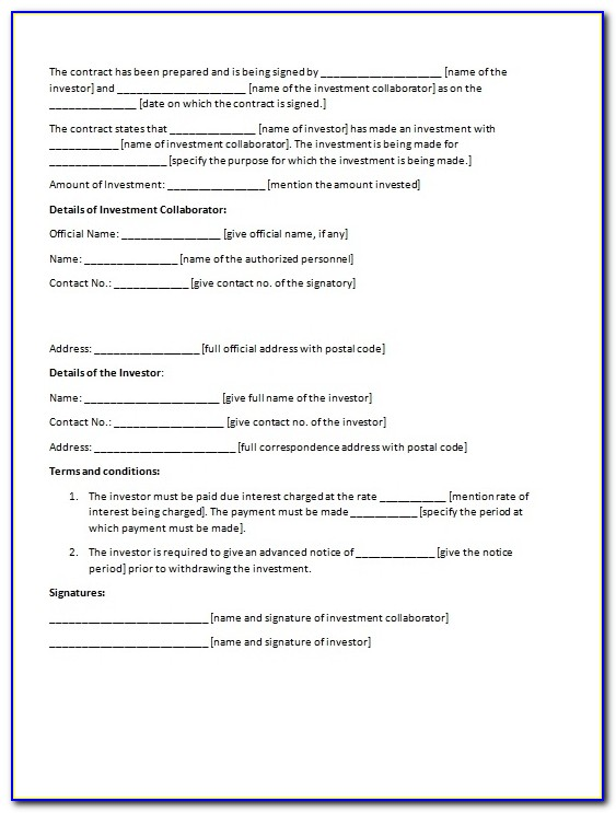 Investment Contract Template | Contract Agreements, Formats & Examples With Regard To Investor Agreement Template
