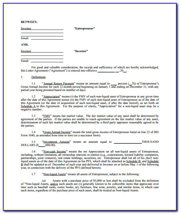 Investor Agreement Template Word