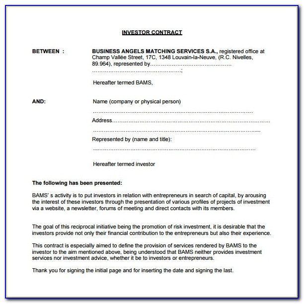 8+ Investment Contract Templates – Free Word, Pdf Documents Inside Investor Agreement Template