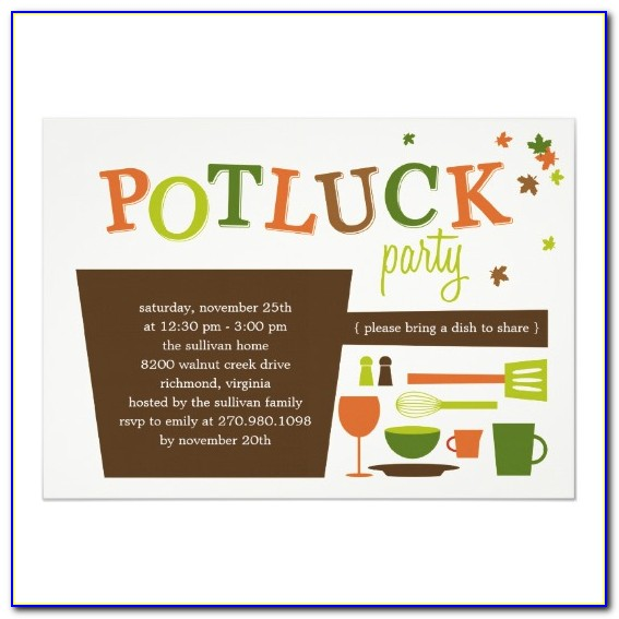 Invitations For Potluck Party