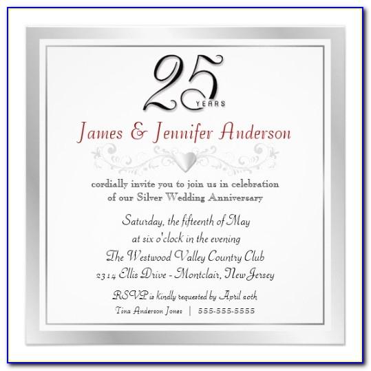 Invitations For Silver Wedding Anniversary