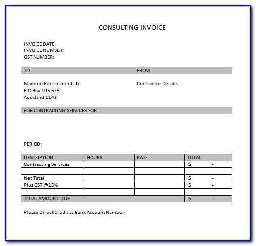 Invoice For Consultancy Services