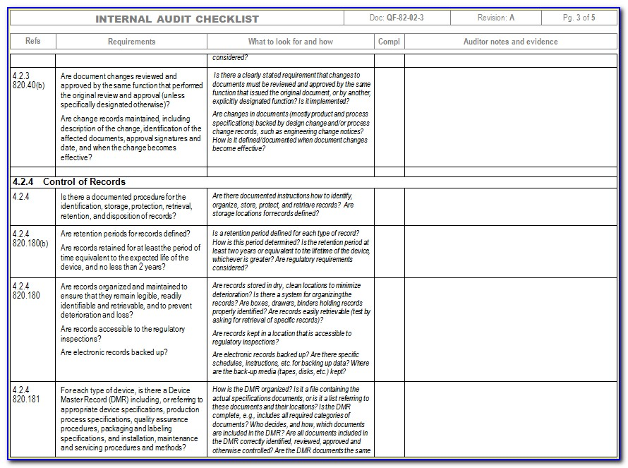 Iso Internal Audit Template
