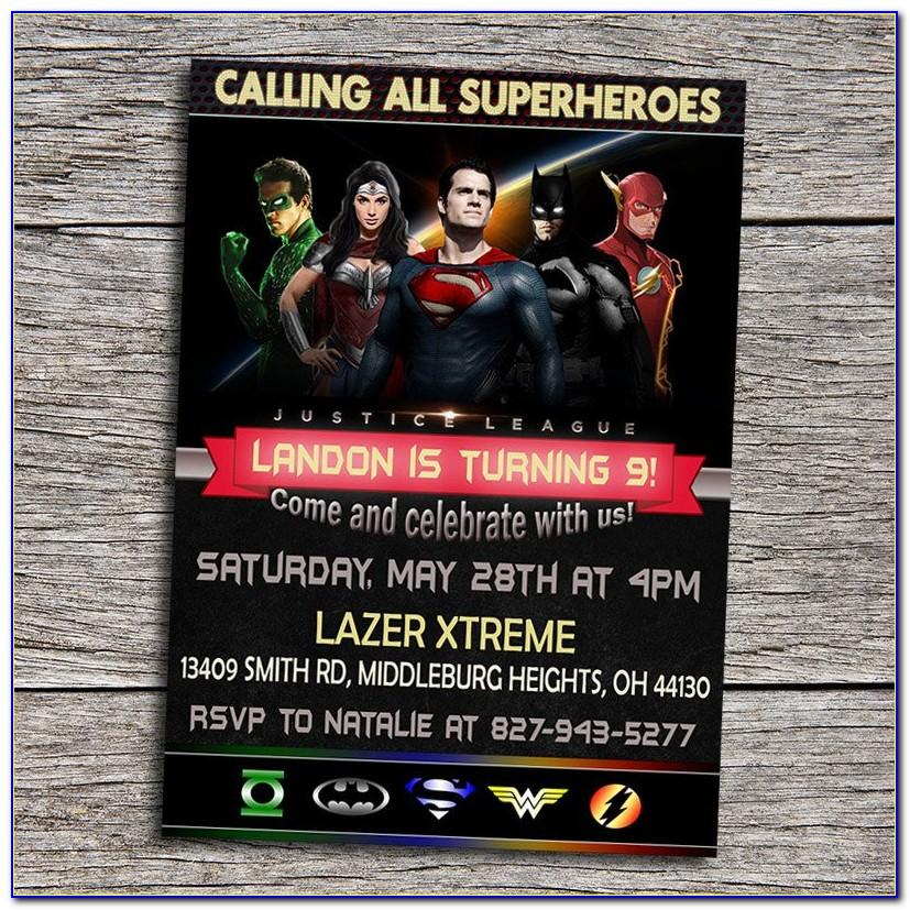 Justice League Birthday Invitation Template