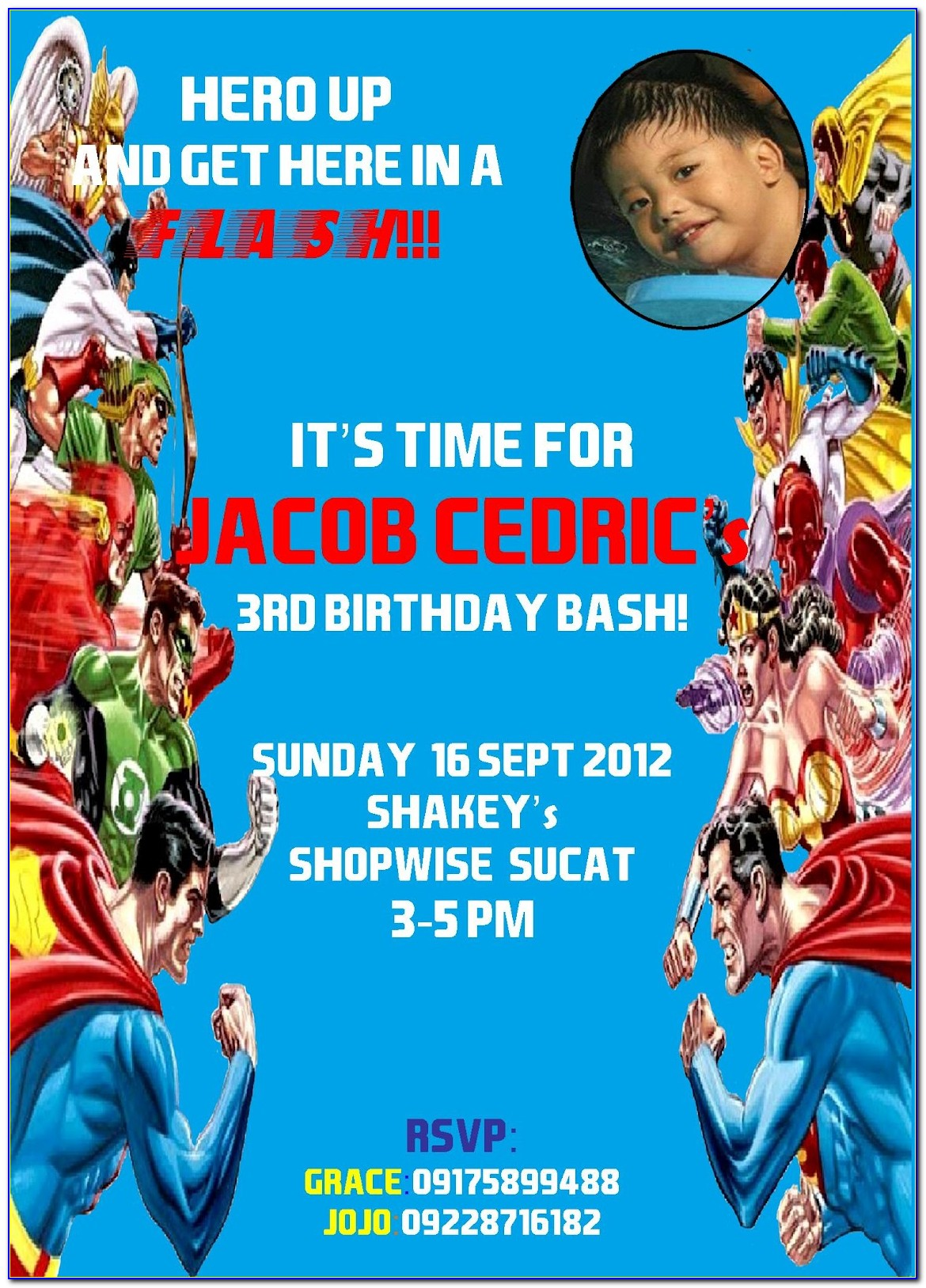 Justice League Party Invite Template