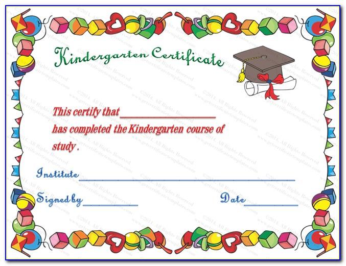 Kindergarten Certificate Template Free