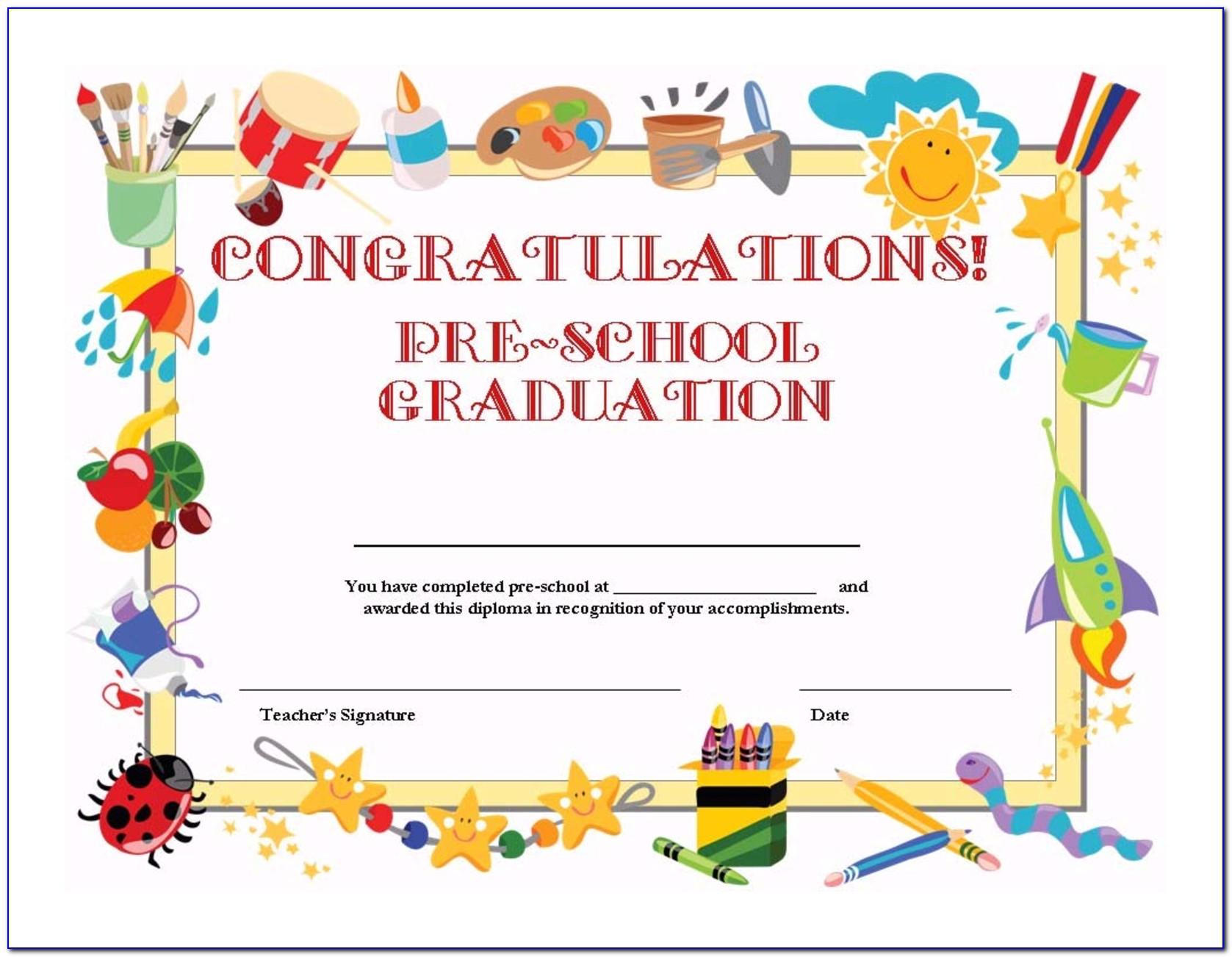 Kindergarten Certificate Templates Free