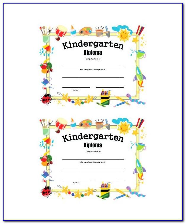 Kindergarten Graduation Certificate Template