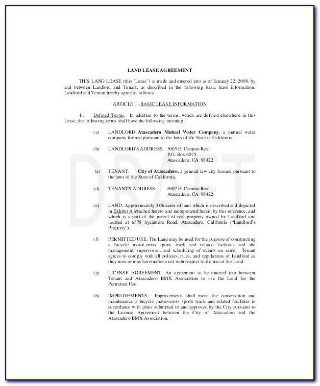 Land Lease Agreement Template Free Nz