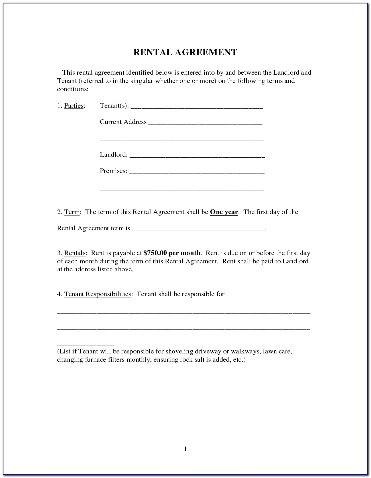 Landlord And Tenant Agreement Forms