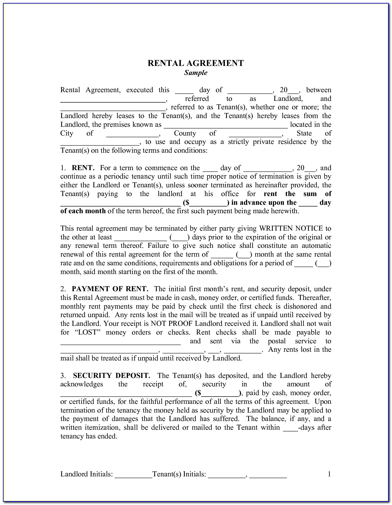 Landlord And Tenant Agreement Template