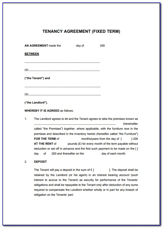 Landlord Tenant Agreement Template Ireland