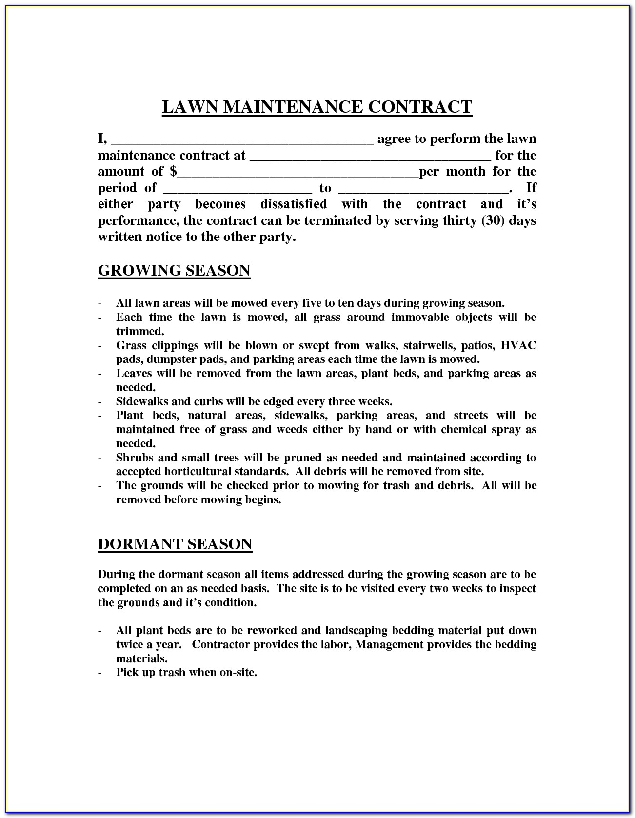 Lawn Care And Landscape Maintenance Contract Template