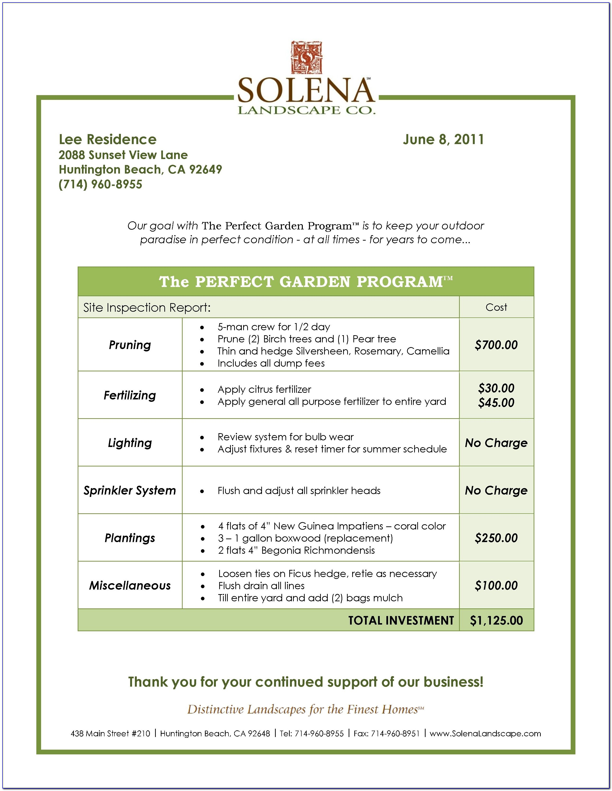 Lawn Care Maintenance Contract Samples