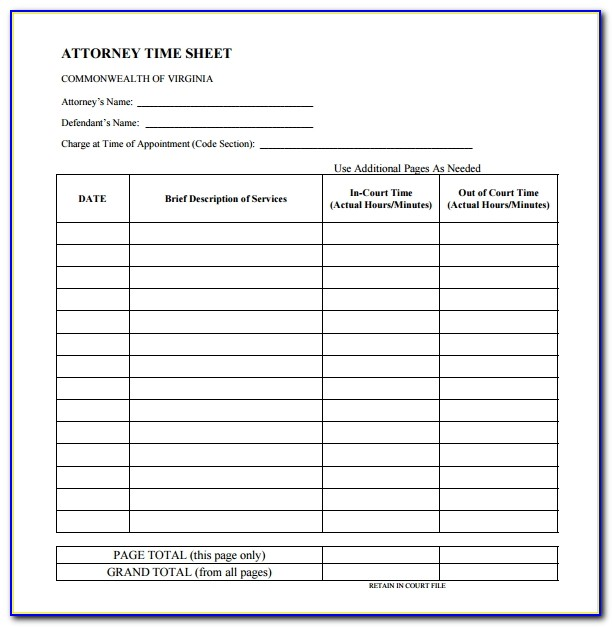 Lawyer Billable Hours Template