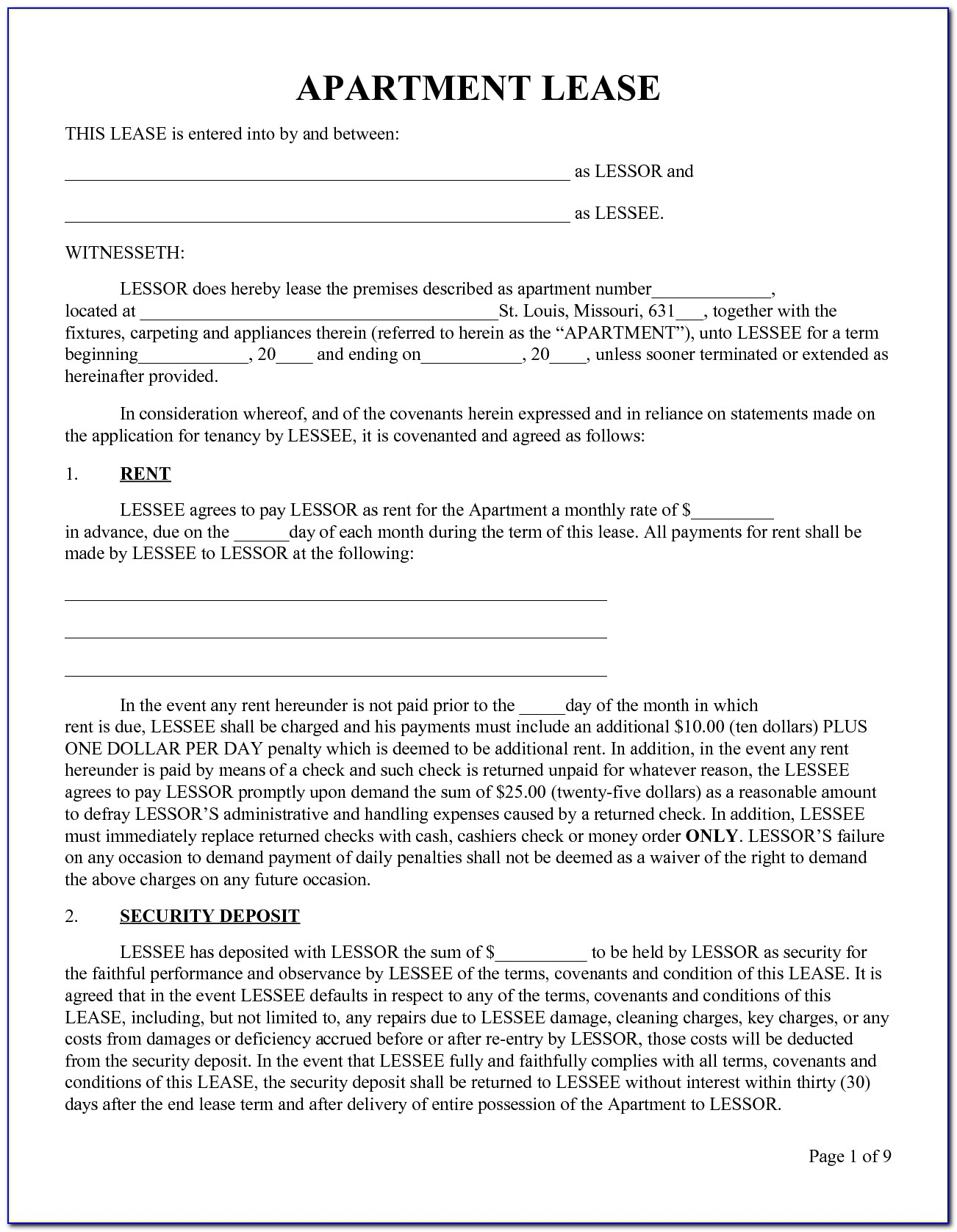 Lease Agreement Contract Example