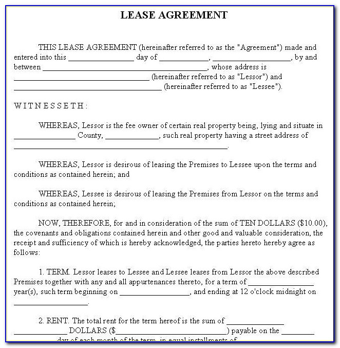 Lease Agreement Contract Format