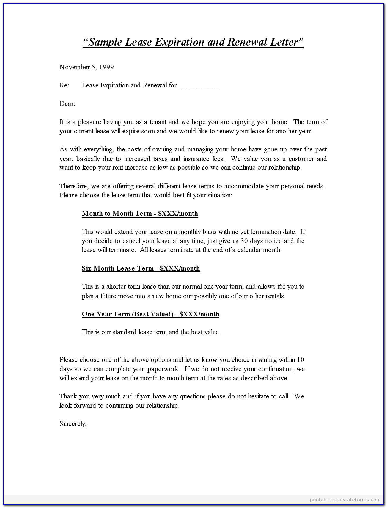 Lease Contract Extension Template
