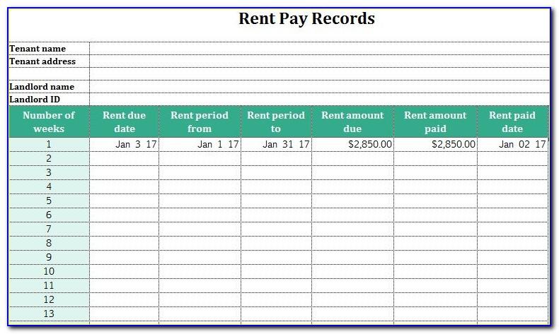 Rent Ledger Excel Spreadsheet