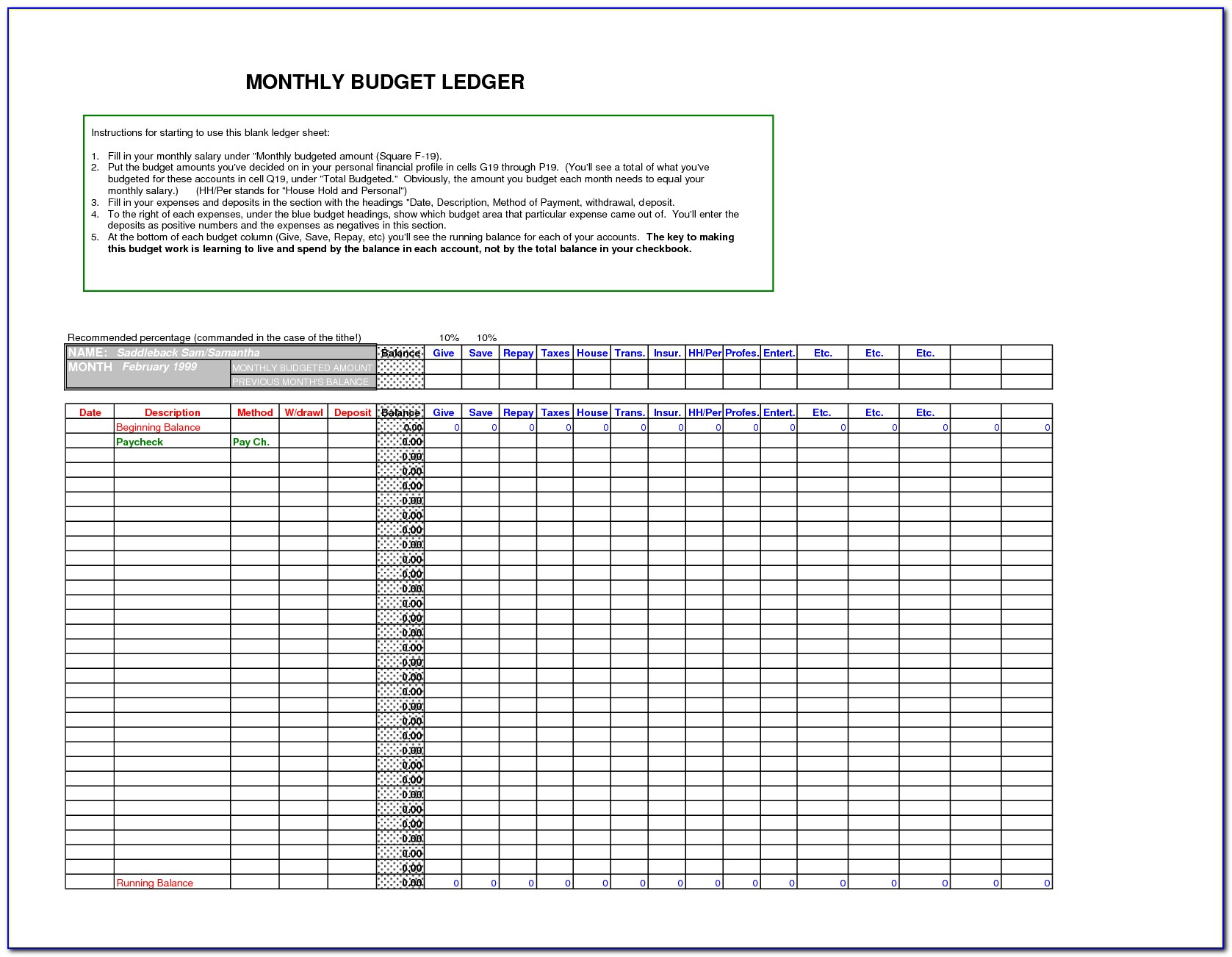 Ledger Worksheet Template