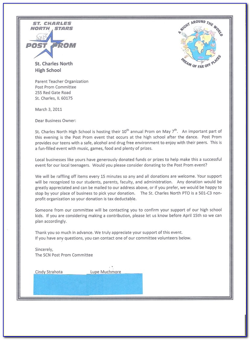 Letter Template For Prize Donations