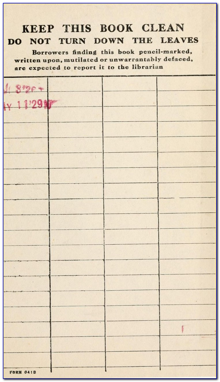 Library Book Checkout Card Template