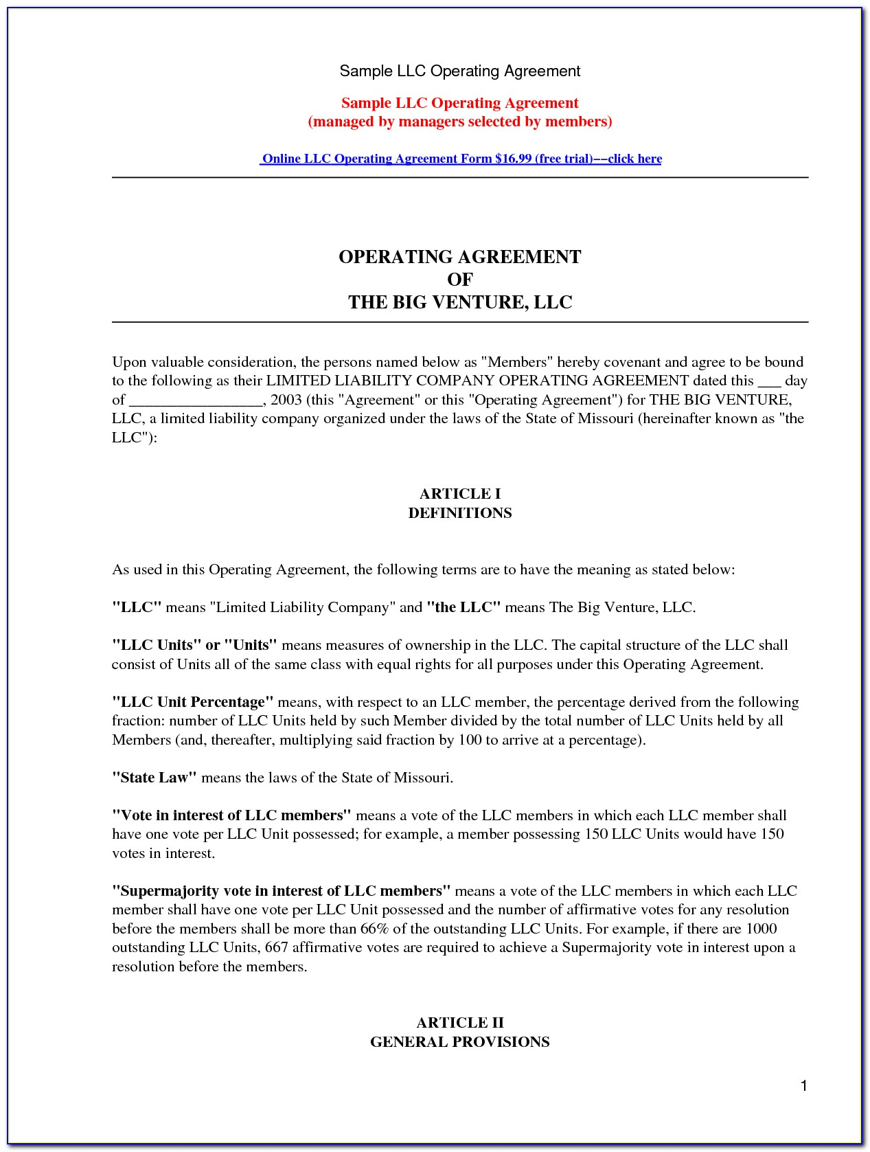 Llp Agreement Form