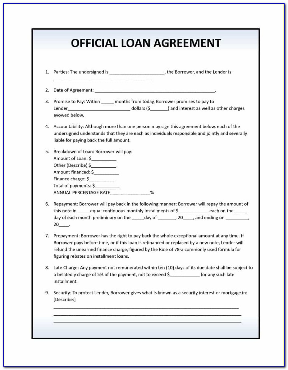 40+ Free Loan Agreement Templates [word & Pdf] Template Lab With Printable Loan Agreement