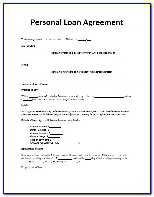 Loan Agreement Template Pdf Uk