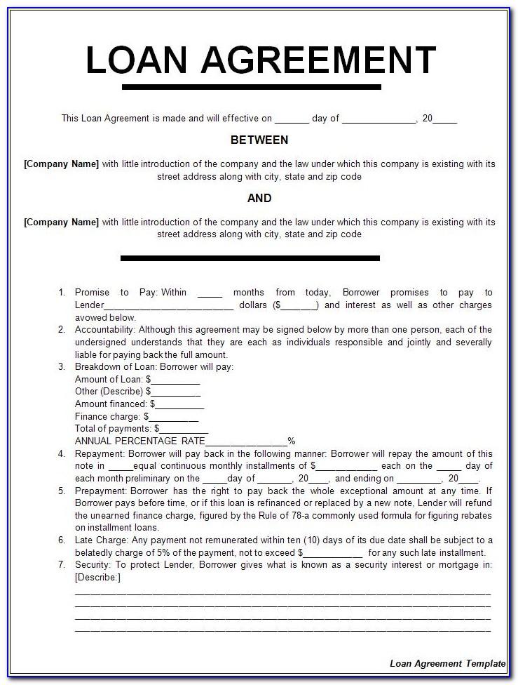 Loan Agreements Templates Free Uk