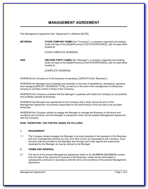Management Services Agreement Template Free